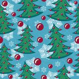 Seamless New Year. A seamless pattern with New Year Trees, decorations and snowflakes. Using this pattern you can fill any area with no visible bounds Stock Photos