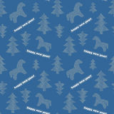 Seamless New-Year background with trees and horses Royalty Free Stock Image