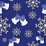 Seamless New Year and Christmas background. On blue Royalty Free Stock Images