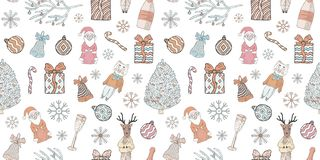 Seamless New Year and Christmas pattern. Doodles on a white background. stock illustration