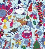 Seamless New Year pattern. Hand drawn Royalty Free Stock Image