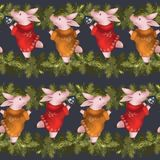 Seamless new year pattern. Piglets in sweaters with spruce Christmas garland. Symbol of the year 2019. Seamless new year pattern. Piglets in sweaters with royalty free stock images