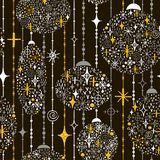 Seamless New Year`s pattern with balls of snowflakes, beads and Stock Images