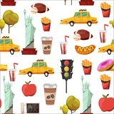 Seamless New york Set Vector pattern with flat icons Taxi, apple, donut, statue of Liberty New york Usa travel Stock Images