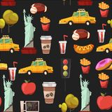 Seamless New york Set Vector pattern with flat icons Taxi, apple, donut, statue of Liberty New york Usa travel Royalty Free Stock Images