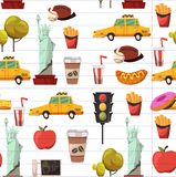 Seamless New york Set Vector pattern with flat icons Taxi, apple, donut, statue of Liberty New york Usa travel Stock Photo