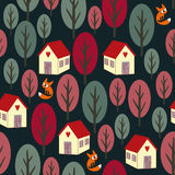 Seamless night autumn pattern - colorful trees, houses, snow and foxes. Stock Photo