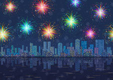 Seamless Night City Landscape with Fireworks. Horizontal Seamless Landscape, Holiday Urban Background, Night City with Skyscrapers, Fireworks and Snowflakes in Royalty Free Stock Image