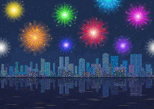 Seamless Night City Landscape with Fireworks. Horizontal Seamless Landscape, Holiday Urban Background, Night City with Skyscrapers and Fireworks in Starry Sky Stock Images