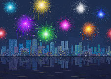 Seamless Night City Landscape with Fireworks. Horizontal Seamless Landscape, Holiday Urban Background, Night City with Skyscrapers and Fireworks in Starry Sky Stock Photo