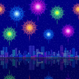 Seamless Night City Landscape with Fireworks. Horizontal Seamless Landscape, Holiday Urban Tile Background, Night City with Skyscrapers and Fireworks in Starry Stock Image