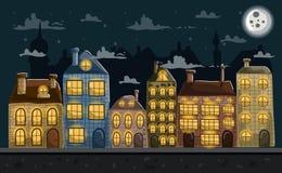 Seamless night city landscape Stock Photo