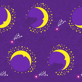 Moon fairy-tale purple pattern Royalty Free Stock Image