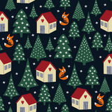 Seamless night winter Christmas pattern - varied Xmas trees, houses, snow and foxes. Happy New Year background. Child drawing style forest illustration Royalty Free Stock Photo