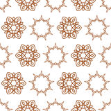Seamless of nine angle stars and six petal flowers Stock Photos