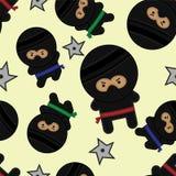 Seamless Ninja Tile. Seamless repeatable pattern with Ninjas and Ninja Stars vector illustration