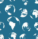 Seamless no contours globes pattern. Navy blue color Stock Photos