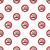 Seamless no smoking sign pattern on white Royalty Free Stock Photo