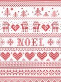 Seamless Noel Scandinavian fabric style, inspired by Norwegian Christmas, festive winter pattern in cross stitch with reindeer Royalty Free Stock Image