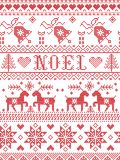 Seamless Noel Scandinavian fabric style, inspired by Norwegian Christmas, festive winter pattern in cross stitch with reindeers Stock Photo