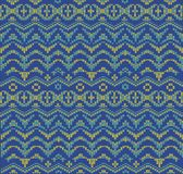 Seamless nordic knitwear pattern, winter christmas background, card. Scheme for cross-stitch and crochet. Geometric knitwear pattern, winter christmas stock illustration