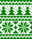 Seamless nordic pattern with stars and fir-trees Royalty Free Stock Photos