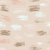 Seamless nude vector handmade abstract brush strokes background. Ink grunge pattern Stock Images
