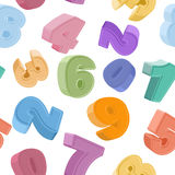 Seamless number pattern. Colorful figures. Children's background Royalty Free Stock Photography