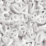 Seamless Numbers, 3D background, vector. Illustration Stock Images