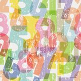 Seamless numbers pattern. Grungy style,  illustration, scalable to any size Stock Image