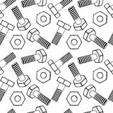 Seamless nuts and bolts Royalty Free Stock Images