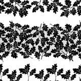 Seamless, oak branches silhouettes Stock Photo
