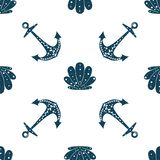 Seamless ocean background with anchor and shells. Summer vector design. For pattern fills, wallpaper, print for clothers. For pattern fills, wallpaper, print royalty free illustration