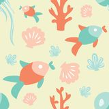 Seamless ocean background with fish coral shell and jellyfish. T. Iled underwater background design. Flat vector illustrated blue water wrapping paper Stock Photo