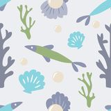 Seamless ocean background with fish coral shell and pearl. Tiled. Underwater background design. Flat vector illustrated blue water wrapping paper Stock Photography
