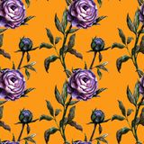 Seamless ocher watercolor realistic botanical pattern with purple peony. Seamless watercolor realistic botanical pattern with purple peony on ocher background royalty free illustration