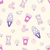 Seamless Office Pattern Doodle Vector Illustration stock illustration
