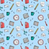 Seamless office stationery pattern background Royalty Free Stock Photos