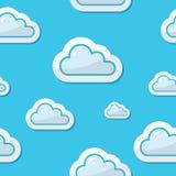 Seamless oklarheter på bakgrund för blå sky, modell stock illustrationer