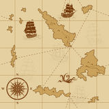 Seamless old map with a compass and ships Royalty Free Stock Image