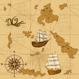 Seamless old map with a compass and ships Stock Images