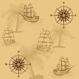 Seamless old map with a compass and ships Stock Photography