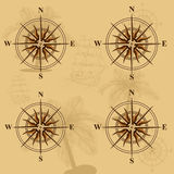 Seamless old map with a compass and ships. In yellow Royalty Free Stock Photos