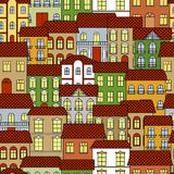 Seamless old town cityscape pattern background Royalty Free Stock Image