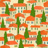 Seamless old town with red roof and tree. Seamless old town with red roof and cypress tree Royalty Free Stock Images