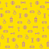 Seamless oldschool gaming inspired pattern, game icons Stock Images
