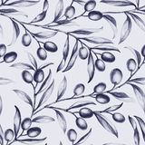 Seamless olive bunch fabric Stock Photo