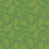 Seamless olive green vector pattern with doodles of yellow sliced lemons and leaves. This seamless pattern with sliced lemons and leaves can be used as a textile royalty free illustration
