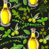Seamless olive oil and herbs Royalty Free Stock Photo