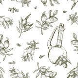 Seamless olive oil pattern. It can be used for wallpaper, textile, package, wrapping paper, background etc Royalty Free Stock Photo